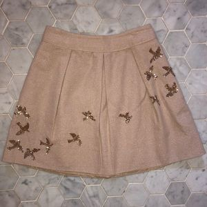 Shimmery skirt with sequin birds